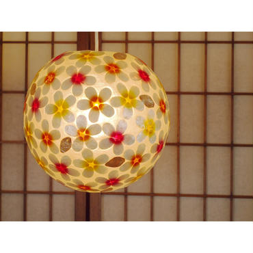 シェルボールランプ  Ф22cm 《 Flower Yellow×Orange×Pink フラワー黄×オレンジ×ピンク 》( テーブル / シーリング )
