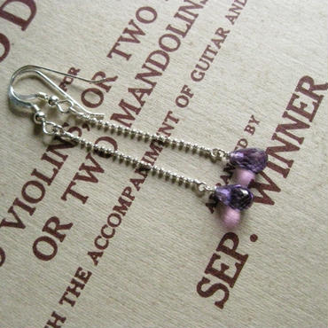Briolette cut drop -type Pierced -Amethyst -