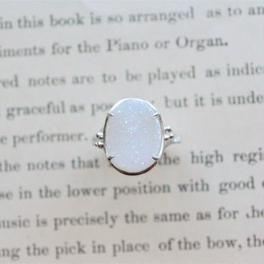 New Only One! White Druzy Agate  Ring -女神の翼-