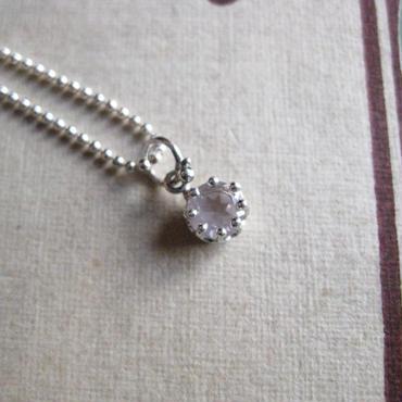 Milk Crown Necklace -Rose-quartz/Cut-【受注後制作】