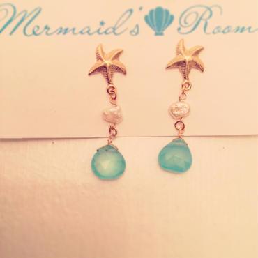 K14GF starfish& calcedony earrings...❤︎