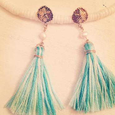 K14GF sea dollar &tassel  earrings...❤︎