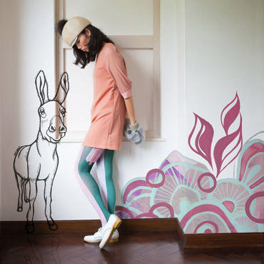 Behind the curtain Tights Green (donkey)  60デニール