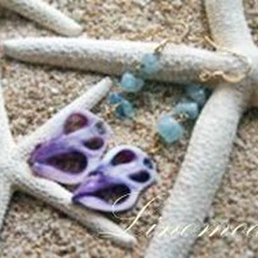 Purple cut shell & Aquamarine Pierce