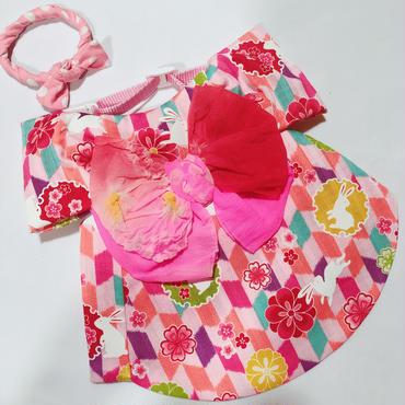 白うさぎの浴衣*ピンク*Lサイズ