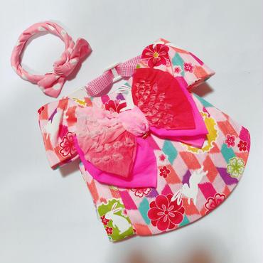 白うさぎの浴衣*ピンク*Sサイズ
