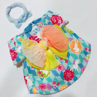 白うさぎの浴衣*水色*帯オレンジ×キイロ*Mサイズ