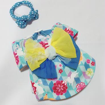 白うさぎの浴衣*水色*帯キイロ×ブルー*Sサイズ