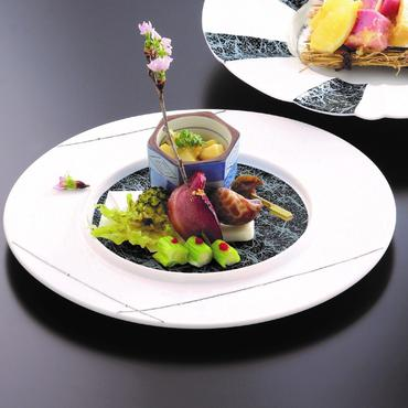 ホワイトブラック丸皿 98-495-01