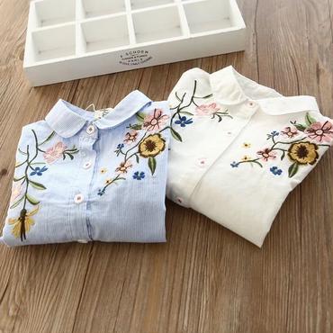 長袖刺繍シャツ