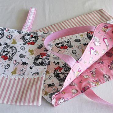 バッグ&うわばき袋セット女の子用・アリス・ピンク
