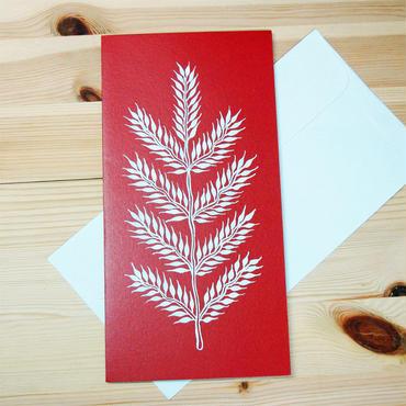インド先住民族アートギフトカード(ロング)ワルリ画・葉レッド