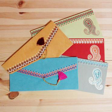 インド封筒・ご祝儀袋-ペーズリー(タッセル付き)