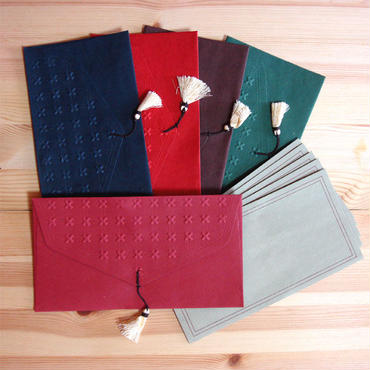エンボス&タッセル封筒+カード(インド製)5組セット