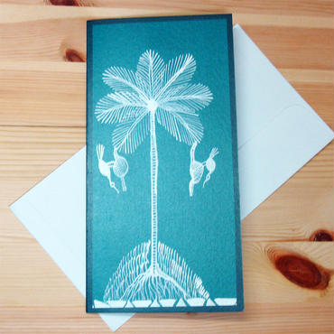 インド先住民族アートギフトカード(ロング)ワルリ画・椰子
