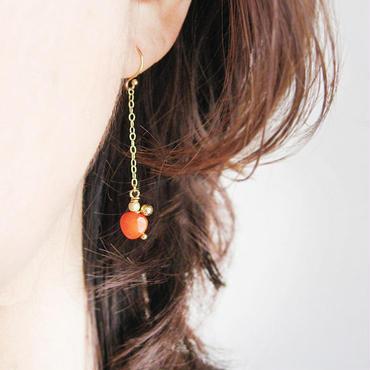 K18 赤いサンゴのピアス