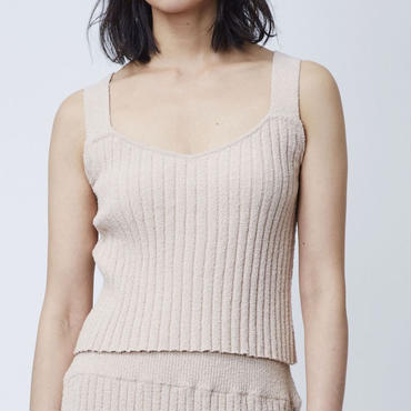 COTTON LOOP KNIT CAMISOLE  (PINK BEIGE)
