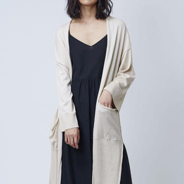 GIZA COTTON LONG CARDIGAN  (BEIGE)
