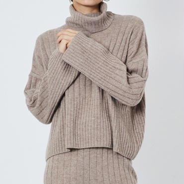CASHMERE WIDE RIB STICH TURTLE KNIT カシミヤ100%ワイドリブタートル (BEIGE)