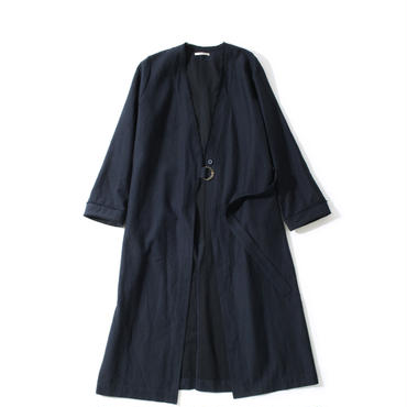 LINEN CUPRA LONG COAT(NAVY)