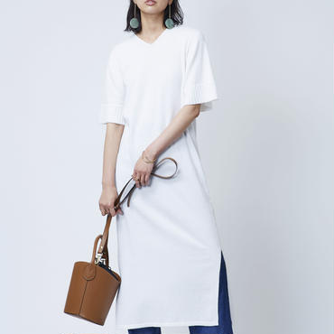 COTTON LOOP KNIT DRESS  (WHITE)