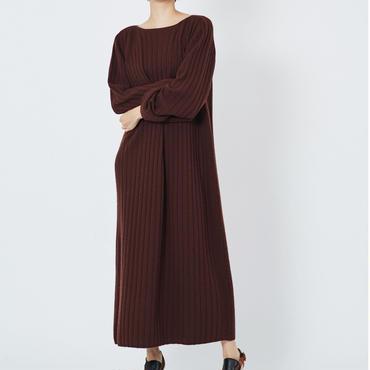 CASHMERE WIDE RIB STICH DRESS カシミヤ100%ワイドリブワンピース(HAZEL)