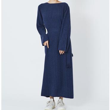 CASHMERE WIDE RIB STICH DRESS カシミヤ100%ワイドリブワンピース(NAVY)