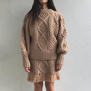 HAND CABLE STICH PULLOVER KNIT  ハンドケーブルプルオーバー(PINK BEIGE)