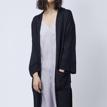GIZA COTTON LONG CARDIGAN (BLACK)