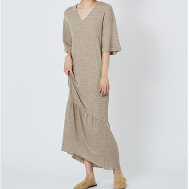 WOOL RIB STITCH DRESS  ウールテレコマキシワンピース (BEIGE)