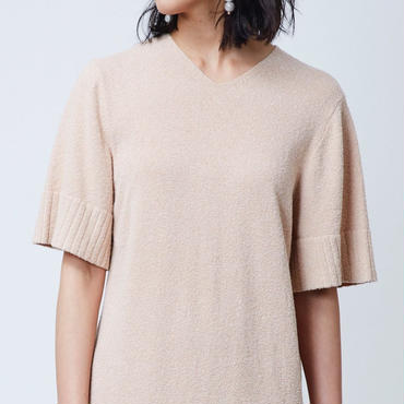 COTTON LOOP KNIT DRESS  (PINKBEIGE)