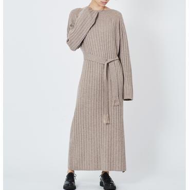 CASHMERE WIDE RIB STICH DRESS カシミヤ100%ワイドリブワンピース (BEIGE)