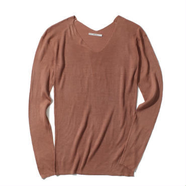 18G V NECK SILK 100 PULLOVER(LIGHT BROWN)