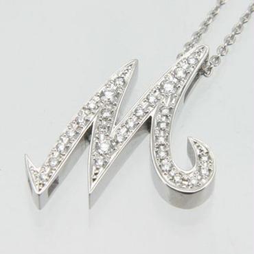 エムジェー[m.J][正規販売店][ネックレス][necklace][MJPN-07WGD-M]パルフェイニシャルネックレス M w/18Kホワイトゴールド ダイヤモンド