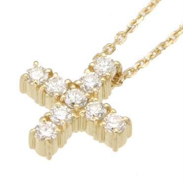 エムジェー[m.J]エスポワールクロスネックレスw/18Kイエローゴールド ダイヤモンド[ESPOIR CROSS NECKLACE w/DIA 18KYG]