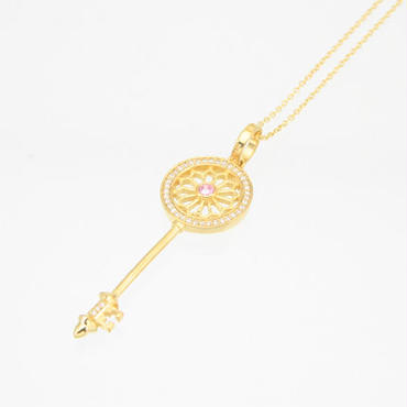 エムジェー[m.J][正規販売店][ネックレス][necklace][MJP-01GPPCZ]デフィキーペンダント ゴールドプレート w/ピンクCZ