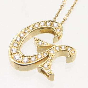 エムジェー[m.J][正規販売店][ネックレス][necklace][MJPN-07YGD-G]パルフェイニシャルネックレス G w/18Kイエローゴールド ダイヤモンド