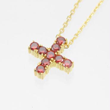 エムジェー[m.J][正規販売店][ネックレス][necklace][MJPN-05GPRCZ]エスポワールクロスネックレス ゴールドプレート w/レッドCZ