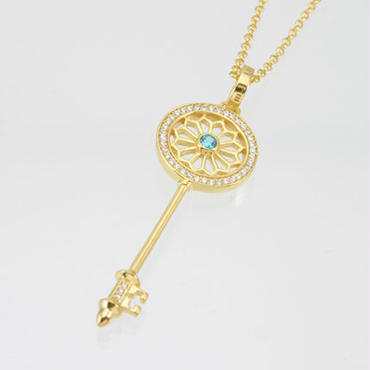 エムジェー[m.J][正規販売店][ネックレス][necklace][MJP-01GPLBCZ]デフィキーペンダント ゴールドプレート w/ライトブルーCZ