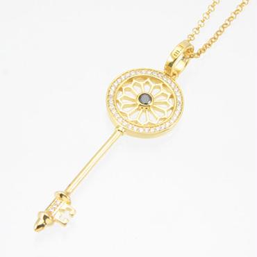 エムジェー[m.J][正規販売店][ネックレス][necklace][MJP-01GPBCZ]デフィキーペンダント ゴールドプレート w/ブラックCZ