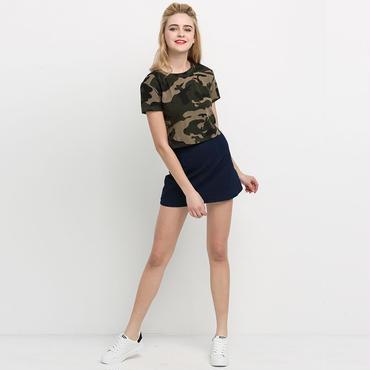 haoduoyi2018夏女装新モデルの欧米军旅风セクシー破ホールの迷彩円袖tシャツ