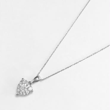 K18WG ダイヤモンドハートペンダント
