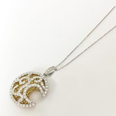 K18W/YG ダイヤモンド & サファイヤペンダント