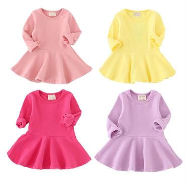 5f3dd9372eeed 選べる7色 全色揃えたいシンプルな長袖 フレアワンピース ガールズ 女の子 ベビー キッズ 子.