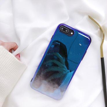 【M360】★ iPhone 6/6s/6Plus/6sPlus/7/7Plus/8/8Plus /X ★ Galaxy Moon Case ケース お洒落 星空 ブルーレイ