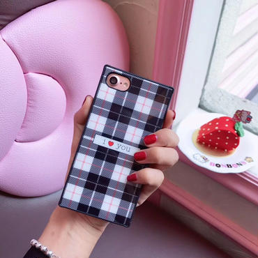 【M409】★ iPhone 6s /6Plus / 6sPlus / 7 / 7Plus / 8 / 8Plus / X ★ シェルカバー ケース  チェック I LOVE U  /Baby