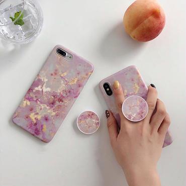 【M718】★ iPhone 6 / 6s / 6Plus / 6sPlus / 7 / 7Plus / 8 / 8Plus / X ★ シェルカバー ケース ピンク  大理石 ブラケット