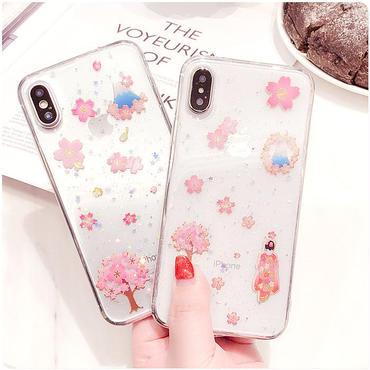 【M336】★ iPhone 6 / 6s / 6Plus / 6sPlus / 7 / 7Plus / 8 / 8Plus / X ★ SAKURA iPhone ケース フラワー ピンク