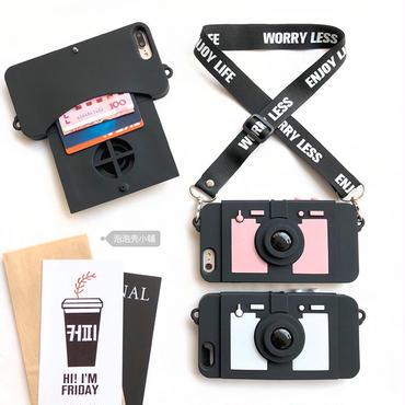 【M322】★ iPhone6 / 6Plus / 6s / 6sPlus / 7 / 7Plus/ 8 / 8Plus /X ★カメラ ロング ストラップ バイカラー 可愛い お洒落