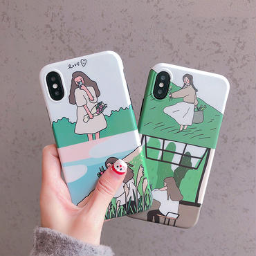 【M282】★ iPhone 6 / 6sPlus / 7 / 7Plus / 8 / 8Plus / X /XS /XR/Xs max★ シェルカバーケース Spring Green GiRL